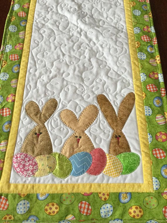 Bunnies and Pastel Patchwork Quilted Table Runnner
