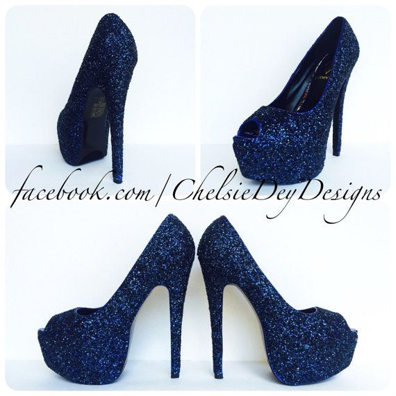 Glitter High Heels  Navy Blue Pumps  Dark by ChelsieDeyDesigns