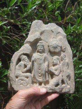 Gandhara, Carved Stone Altar Buddha & 3 Devotees, 300AD