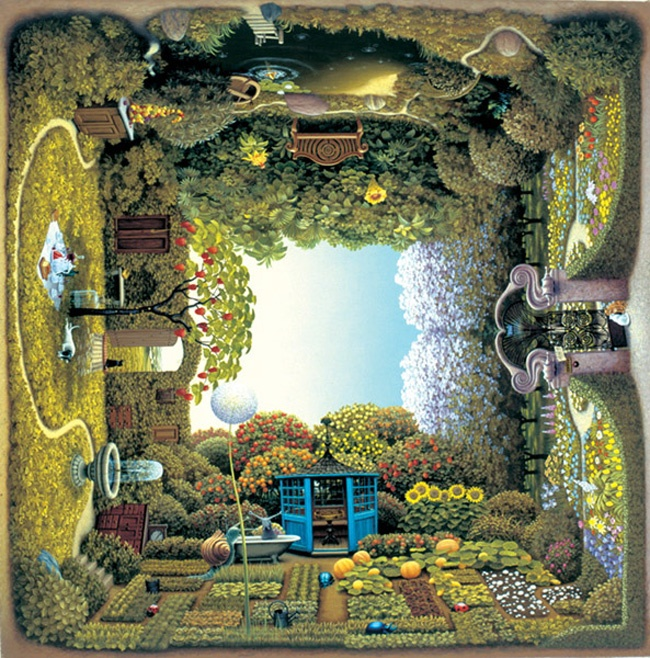 Yacek Yerka painting- very different. wouldn't want to meet those giant snails in my garden! ;)