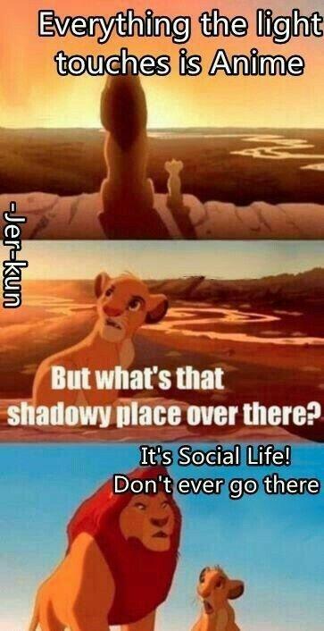 (tradução- de cima para baixo: Tudo o que a luz toca é Anime. Mas o que é aquele lugar escuro lá? É a vida social! Nunca vá pra lá.)