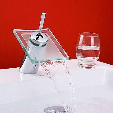 Chrom Wasserfall Waschbecken Wasserhahn mit Glasauslauf                                                                                                                                                                                 Mehr