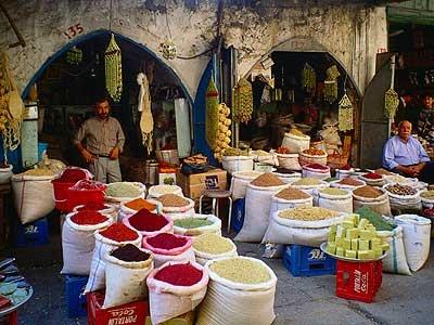 Spice vendors, Mardin Market, Turkey