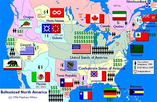 """This map answers the question """"What would America have looked like if every separatist movement in US and Canadian history had succeeded?"""""""