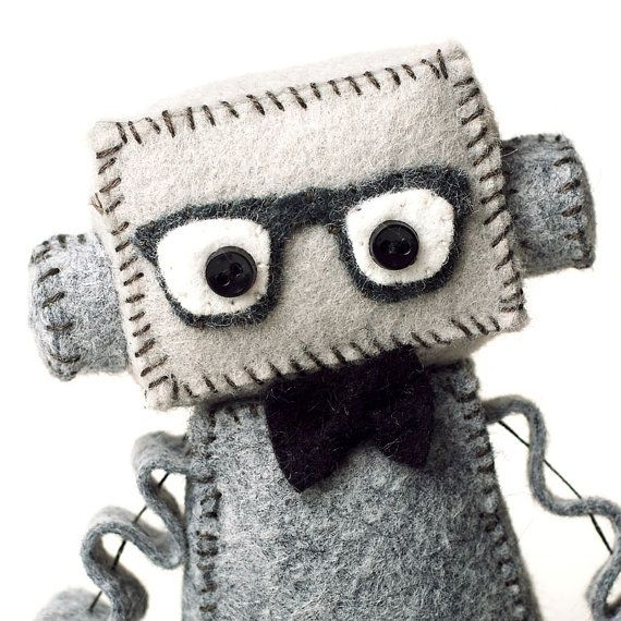 Geeky Plush Robot with Nerdy Glasses - Pick Your Color ...