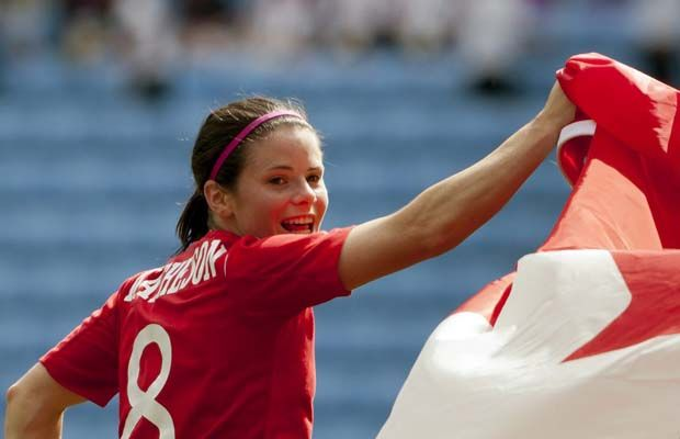 Canada's Diana Matheson, who scored the game-winning goal, celebrates her team's victory against France in their bronze medal women's soccer match at the 2012 London Summer Olympics on Thursday, Aug. 9, 2012 at The Ricoh Arena Stadium in Coventry, England.
