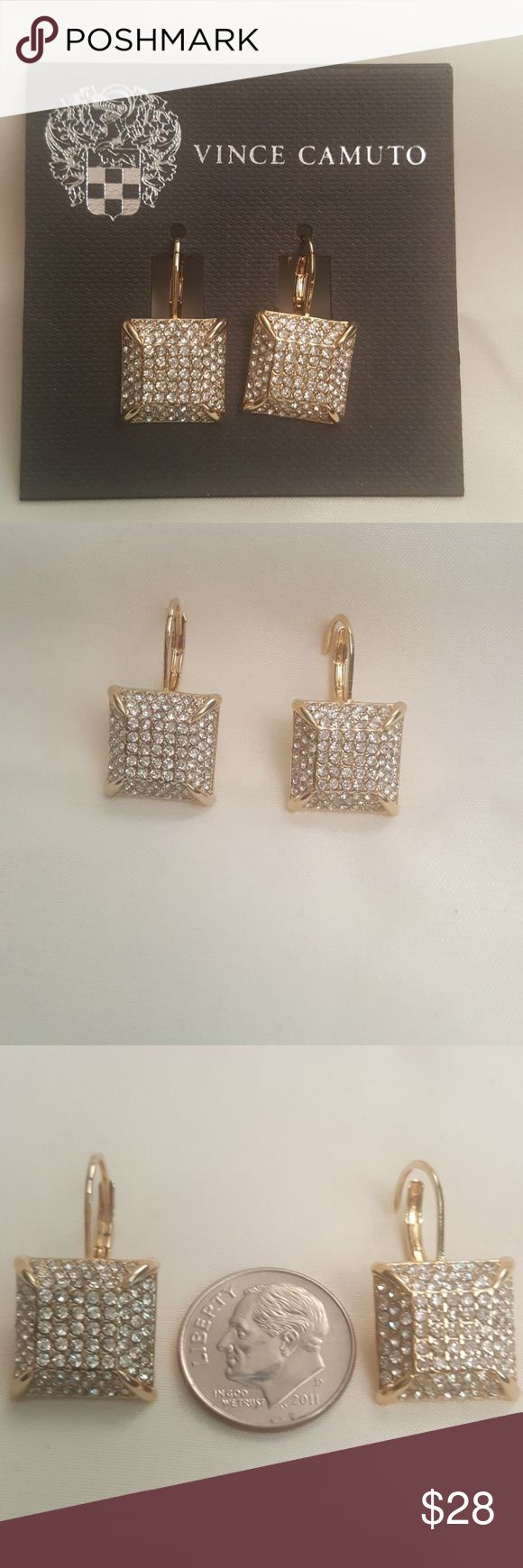Vince Camuto Gold Crystal Square Drop Earrings ... Vince Camuto Jewelry Earrings
