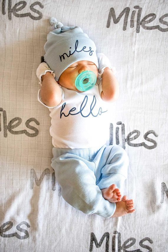 Baby Boy Coming Home Outfit. Spring Summer. Newborn Hello Bodysuit. Blue Custom Personalized Knot Hat Beanie. Take Home Outfit  – Baby