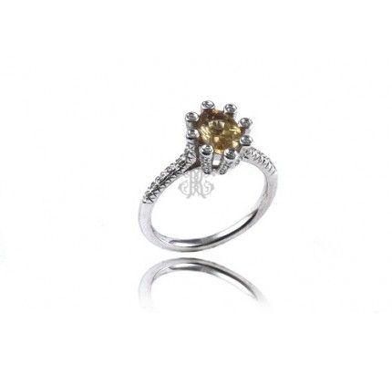 Δαχτυλίδι λευκόχρυσο με διαμάντια και τσιτρίν #ring #whitegold #diamond #citrin #woman #wedding #proposal #love