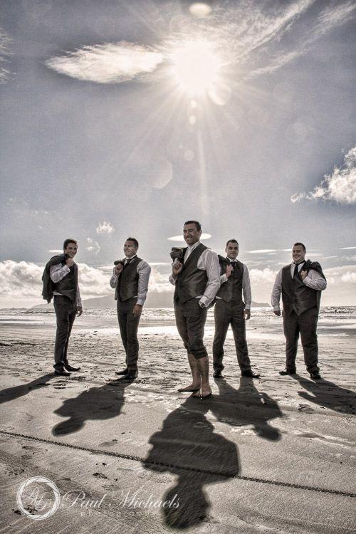 Groomsmen on Peka Peka beach. PaulMichaels Wellington wedding photography http://www.paulmichaels.co.nz/weddings/