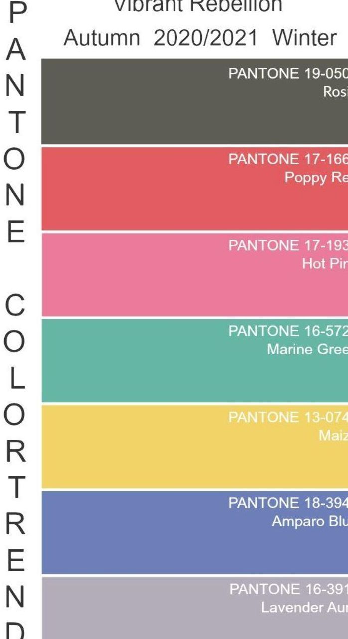 Color Trend Pantone 2020 2021 Autumn Winter Color Trends Fashion Pantone Color Color Trends