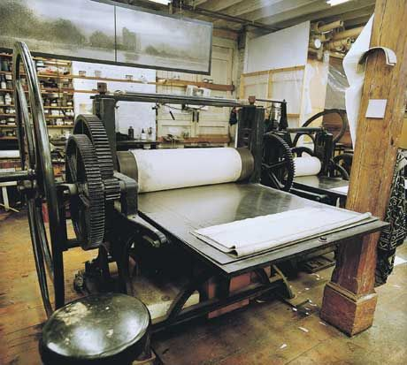 """""""The massive copperplate printing press was commissioned in 1900... """" Norman Ackroyd's studio. S"""