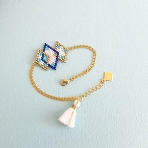 Bracelet motif losanges enlacés tissé en perles de verre