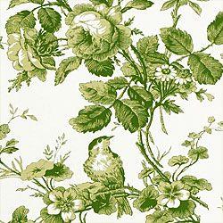 Thibaut Toile Portfolio - Isabelle - Fabric - Green on White