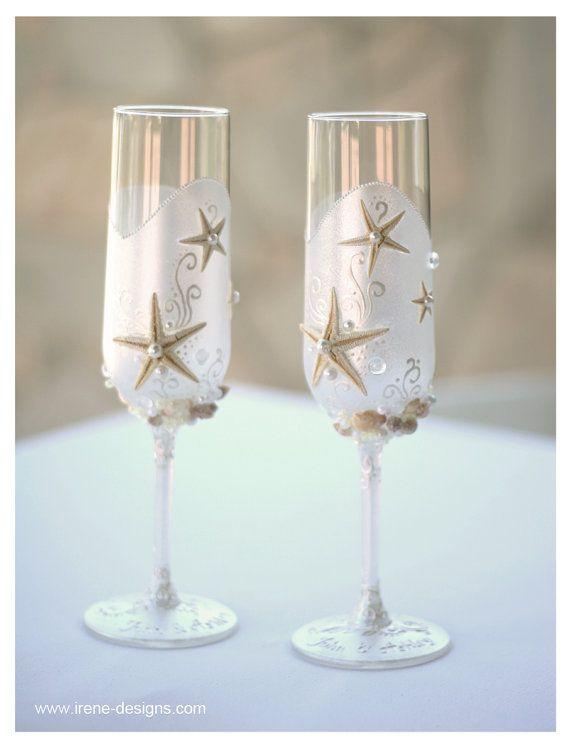 Pearl Wedding Glasses. Wedding champagne glasses hand painted. Champagne Glasses For Beach Wedding on Etsy, $61.69