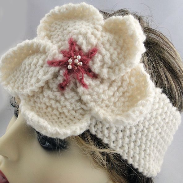 Aran Knit Headband - Pink Centre Beaded Anemone, Paradis Terrestre - Luxury British Made Accessories & Homeware