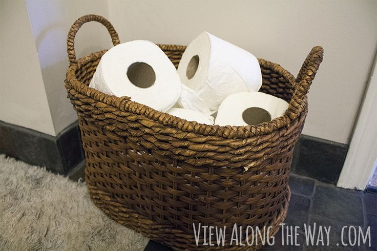 Keep a basket full of toilet paper visible for guest bathrooms - plus other GREAT tips on a luxury guest bath!