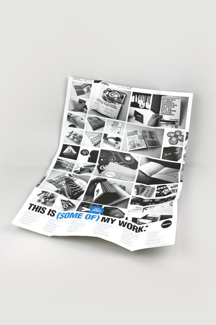 large fold up poster    cv  documenting work by designer effective  i feel the limited colour