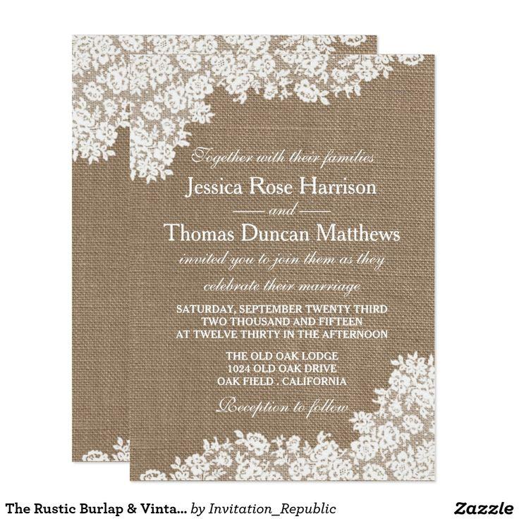 1207 best BURLAP WEDDING Invitations images on Pinterest ...