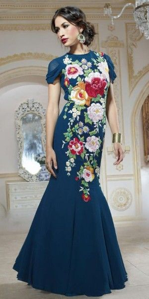 Wonderful Navy Blue Georgette Embroidered Gown.
