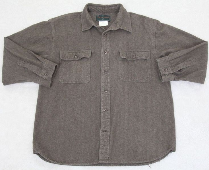 Field & Stream Chamois Shirt Gray Long Sleeve Large Cotton Rayon Button Up Dress #FieldStream #ButtonFront