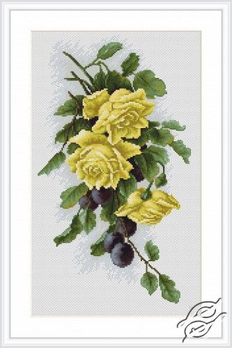 Yellow Roses With Plums - Cross Stitch Kits by Luca-S - 2230