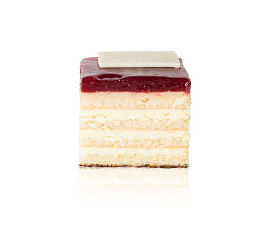 Raspberry & White Chocolate Opera - A thin chocolate base, an almond sponge layered with a white chocolate mousseline crème, topped with a raspberry compote