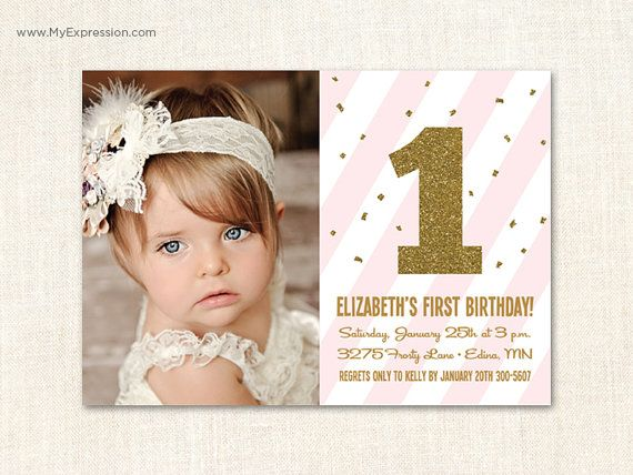 First Birthday Invitations - The Big One Invitations - Gold Glitter Confetti Pink Stripes- Baby Girl Photo Birthday Invitations - Printable