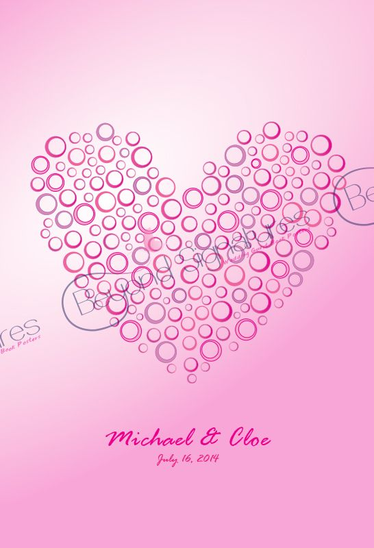 Shades of Pink - wedding guest book poster beyondsignatures.com