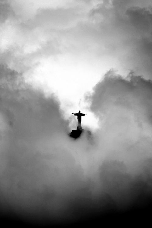 Christ the Redeemer statue - Rio de Janeiro, Brazil | Sky | Clouds | Black White | Photography | Beautiful | South America | Dark | Moody | Statue | www.republicofyou...