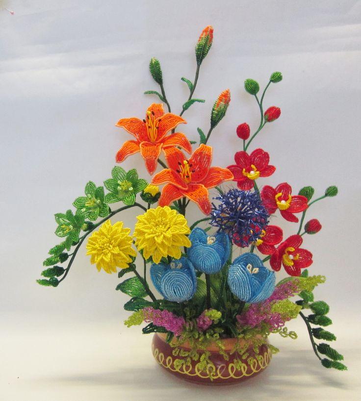 цветы из бисера композиции и букеты фото