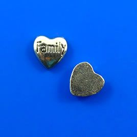 "#Floating #charm, silver-finished, 5x6mm heart ""Family"". #TreasureStone Beads Edmonton."