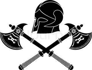 Viking Berserker Symbols | Vector of 'Viking shield with axe vector illustration for web'