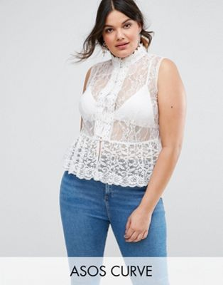 ASOS CURVE Top In Lace With Button Font And Peplum Hem