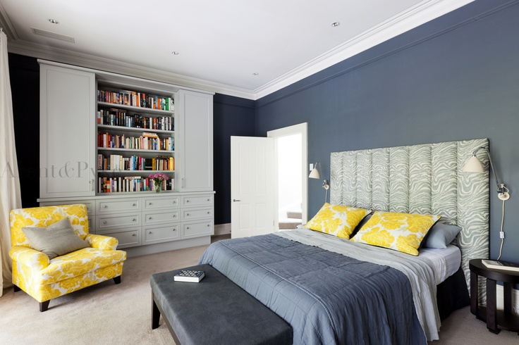 #woollahra #bedroom #bedhead #bookcase #robe #grey #armchair #christopherfarr #cloth #arentpyke #arent #pyke