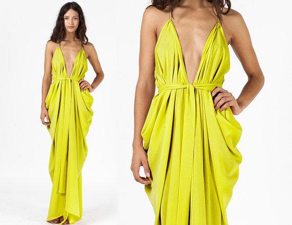 Chartreuse Dress Citron Dress Prom Dress Lime Green Dress