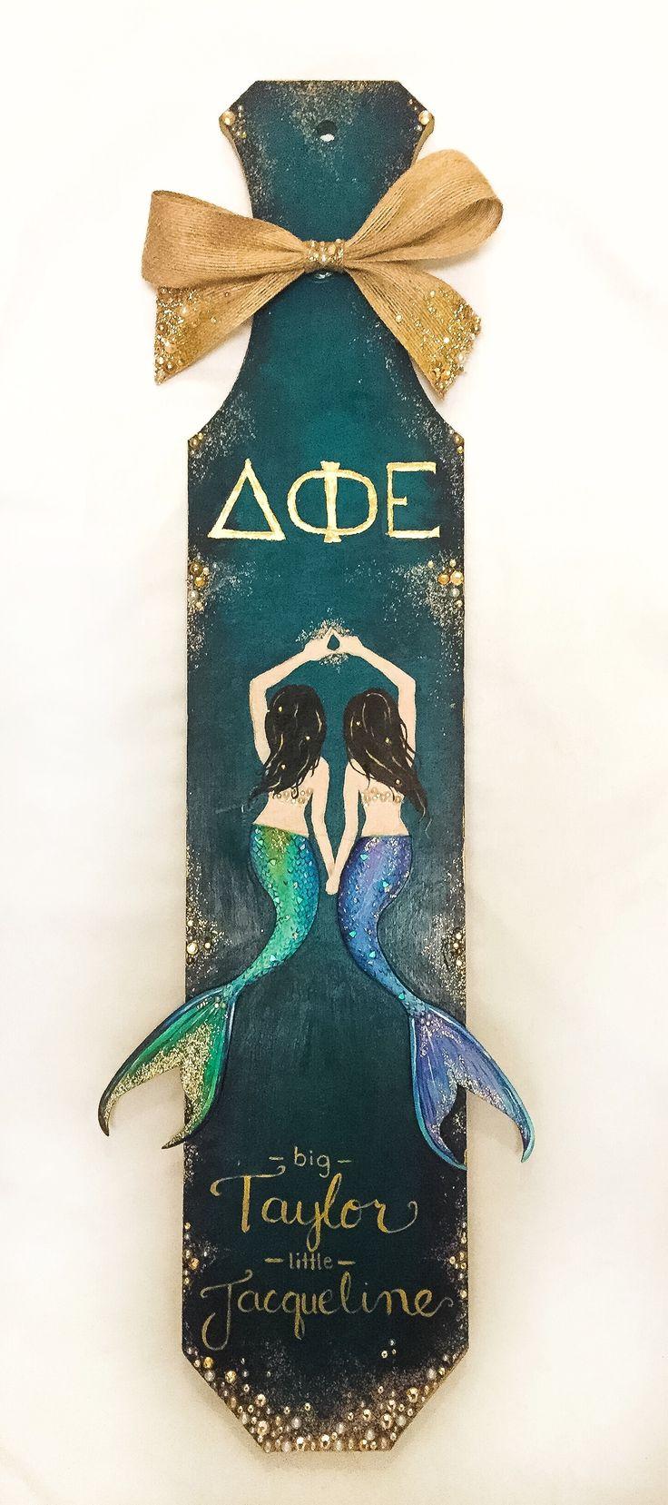 D Phi E Mermaid Sorority Paddle