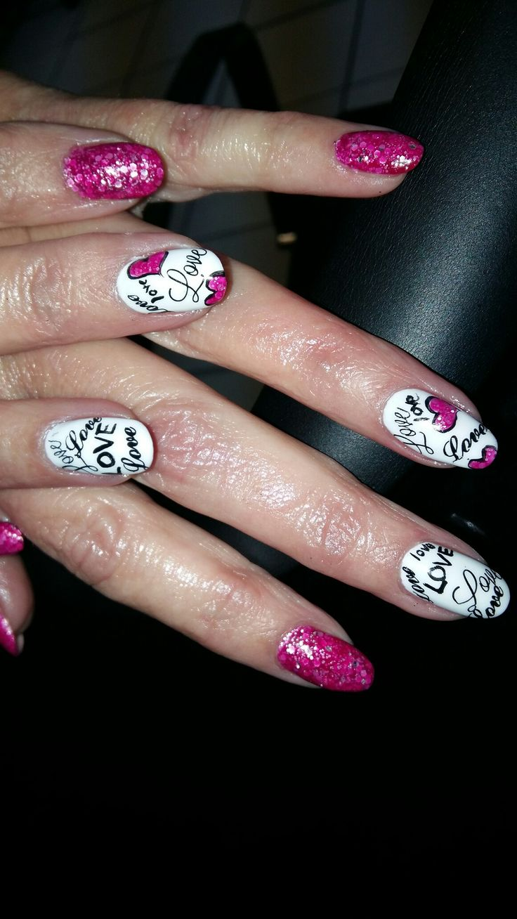 Gel nails pink nails glitter white nails stamping and free hand