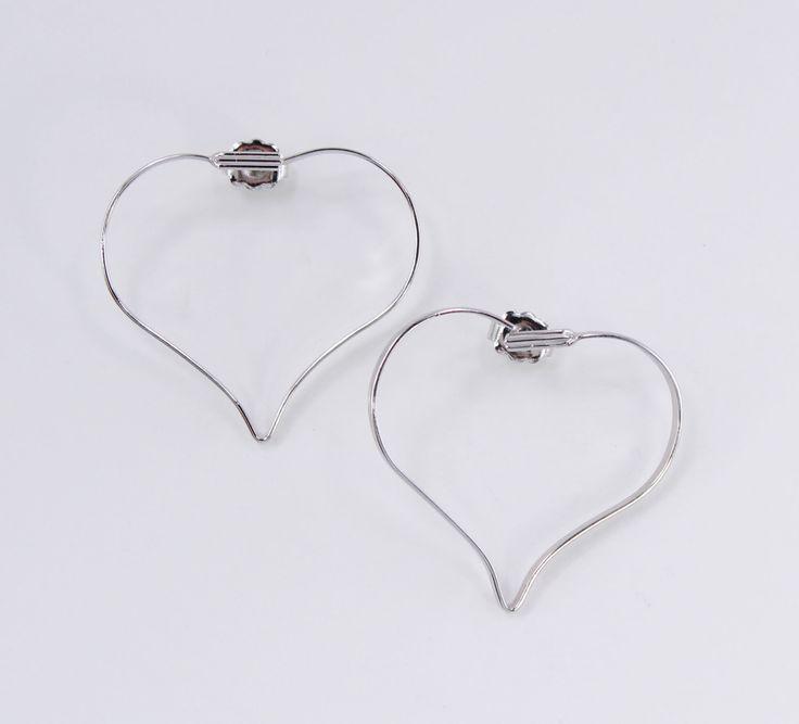 Vintage 1977 Signed Avon Touchpoints Silvertone Large Thin Metal Heart Hoop Minimalist Silver Tone Pierced Earrings Original Box NIB by ThePaisleyUnicorn on Etsy