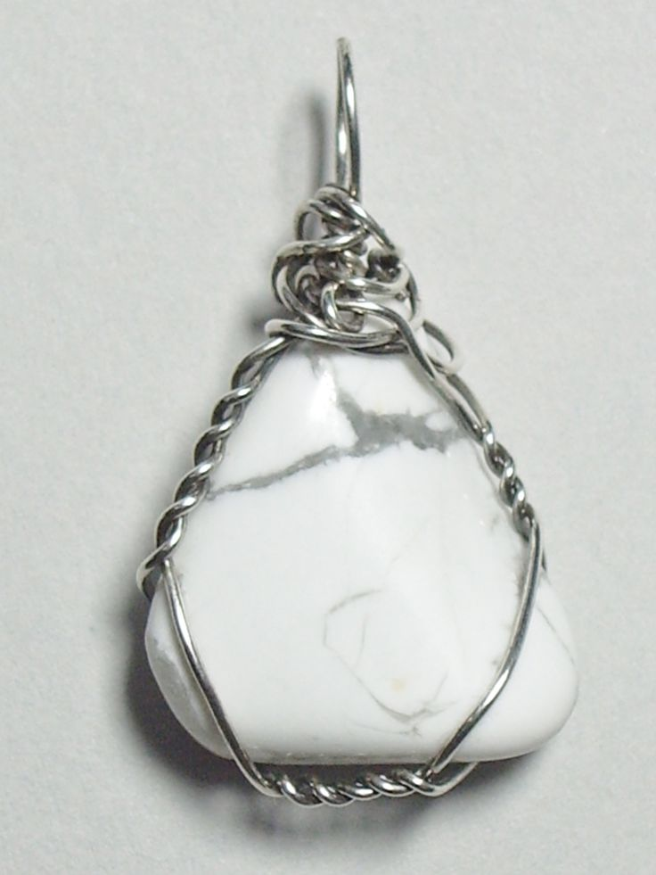 Sterling Silver wire wrapped Howlite - unique handmade pendant for men or women - $36.00 at jemelww.com