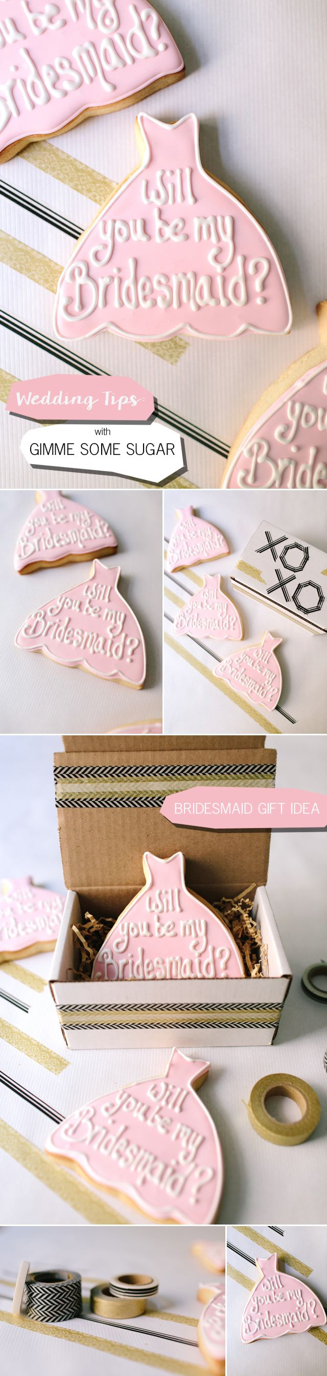 Gimme Some Sugar Cookies Bridesmaid Gift Custom Cookies Las Vegas  | Meg Ruth Photo | Bridesmaid Gift | Will You Be My Bridesmaid Cookies | Creative Bridesmaid Gift