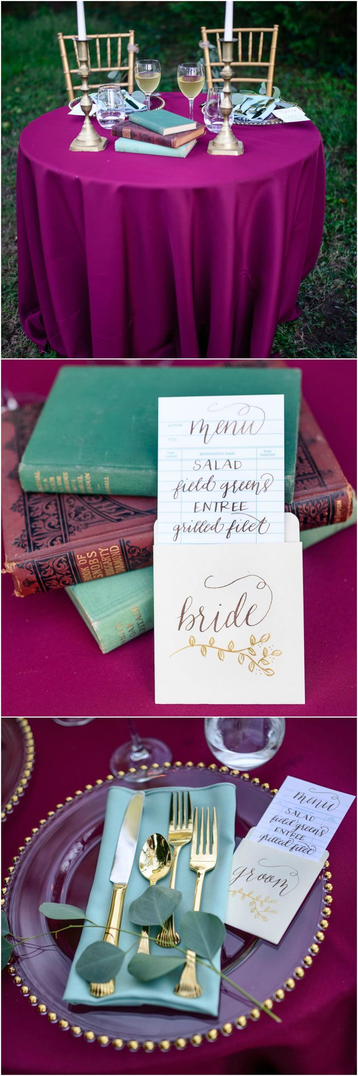 Library-themed wedding, magenta linens, candlesticks, book rental cards, turquoise napkins, clear glass plates // Emily Marie Photography