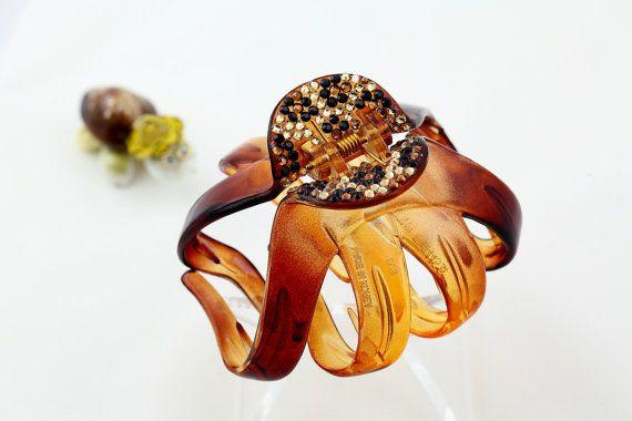 Cheetah hair clip w/ Swarovski crystals claw clip by AddCrystal