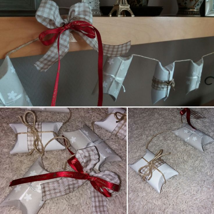 Christmas crafts from toilet paper rolls #DIY #homemade #christmas #decor #minigifts #ribbons