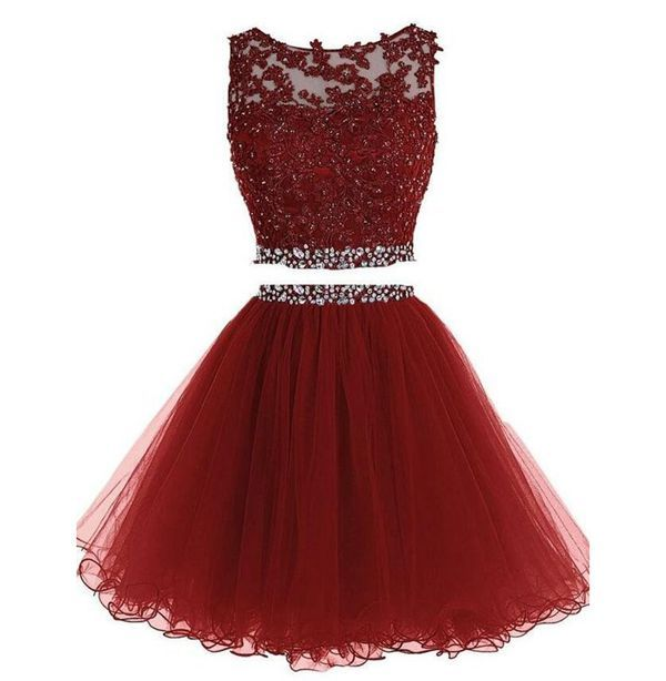Maroon two pieces short prom dresses