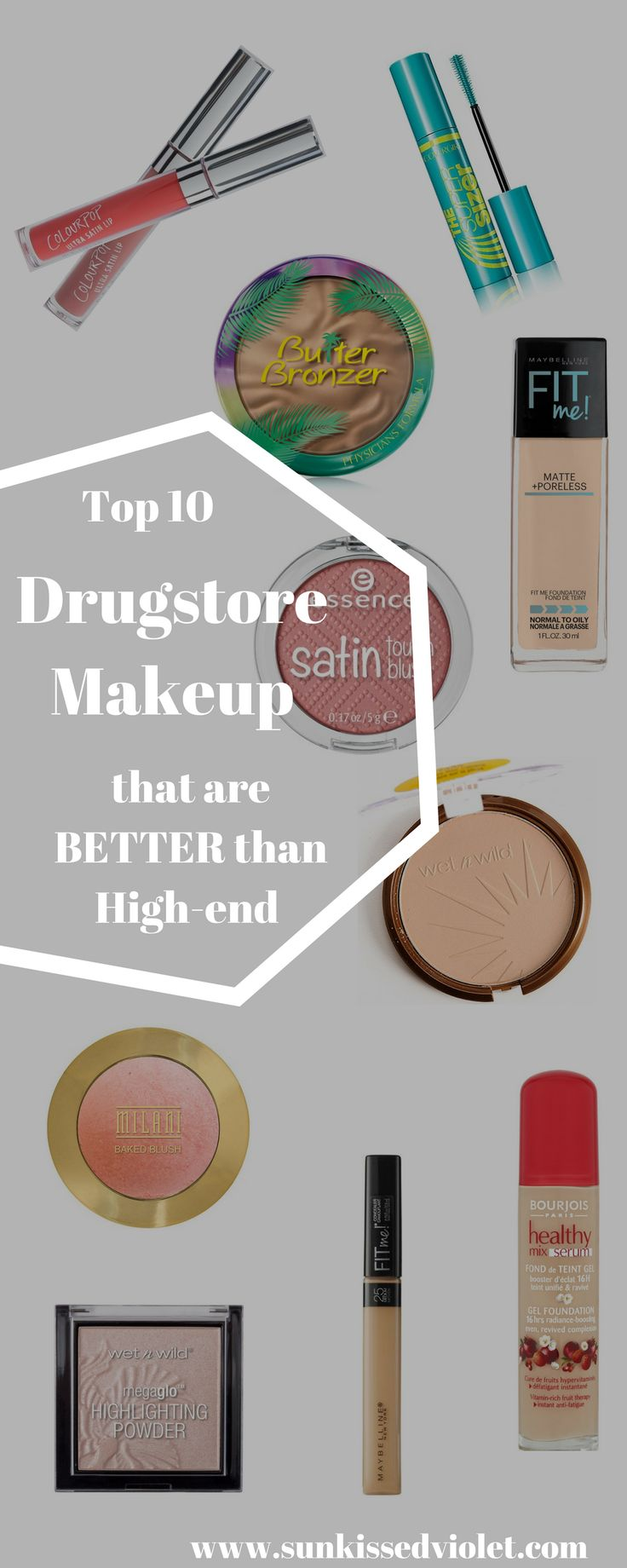 Top 10 Drugstore Makeup that are Better than High-end #cosmetics #drugstoremakeup #makeup #wetnwild #maybelline #colourpop #covergirl #essencecosmetics Maybelline Fit Me Wet n Wild Reserve your canaba Covergirl supersizer mascara Wet n Wild megaglow
