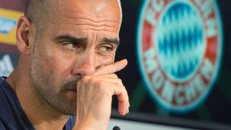 Bayern-Trainer Pep Guardiola auf der Pressekonferenz