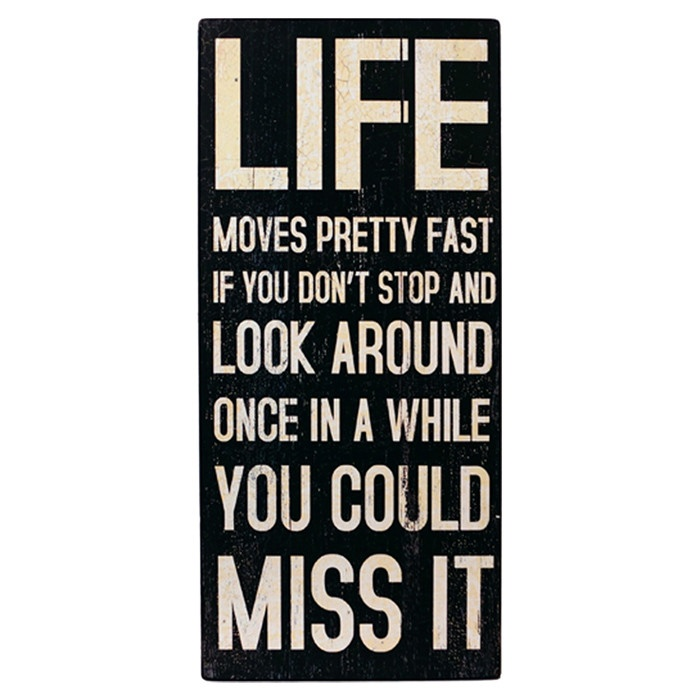 Life moves pretty fast. If you don't stop and look around