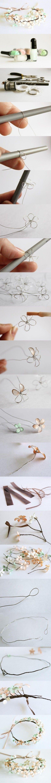 Puedes hacer tus propias coronas de flores con almabre y esmalte de uñas