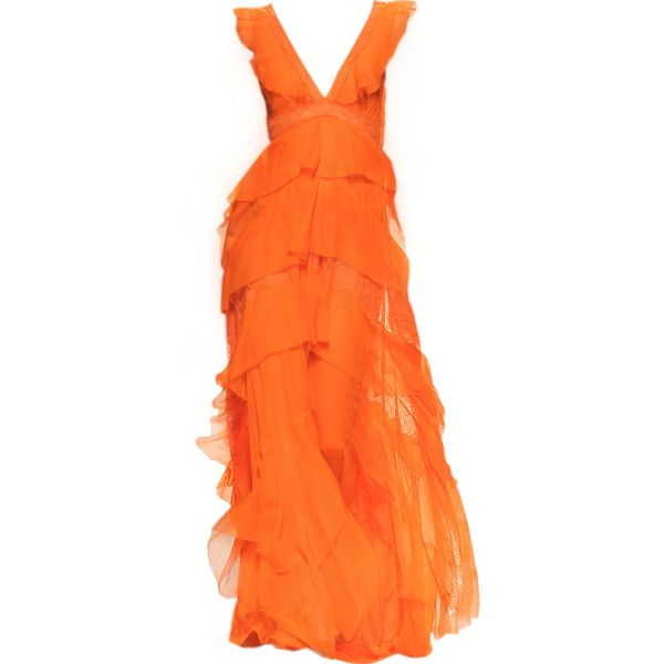 Alberta Ferretti 2014 - satinee.polyvore.com ❤ liked on Polyvore featuring dresses, gowns, long dresses, satinee, vestidos, alberta ferretti gown, alberta ferretti dresses, orange gown and long orange dress